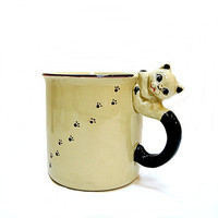 Vintage Cat Mug 1970s Japan Cat Handle & Paw Prints
