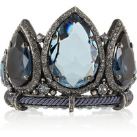 Lanvin|Pewter crystal cuff|NET-A-PORTER.COM