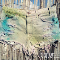 Tie Dyed Levis Denim Shorts (MEDIUM)