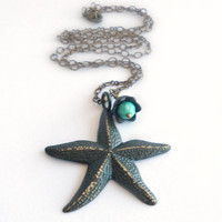Starfish Necklace in Black Patina - Nautical Necklaces - Stella Maris