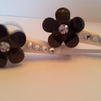 Pretty Petal flower earbuds  with swarovski crystals