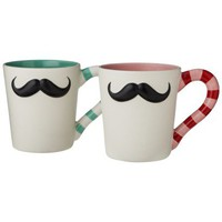 Mustache Mugs Set of 2 - Pink/Blue