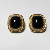 Vintage Jewelry Clip On Earrings Chris Dior Black Gold rhinestone accents costume jewelry cabochon