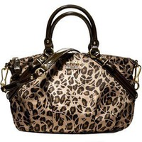 # Coach Madison Signature Ocelot Animal Print Sophia Convertiable Satchel Bag Purse Tote 17764 Brown