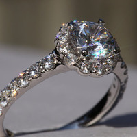 CUSTOM Made - Diamond Engagement Ring - 1.61carat  Round - Split Shank-  Halo - Pave - Antique Style - 14K white gold