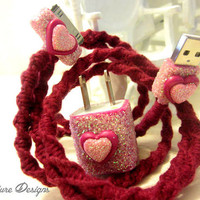 Valenitnes Day Wrapped Glitter iPod / iPhone / iPad USB Cable Charger Adapter Set 'Love Connection 2' By Wrapture Designs