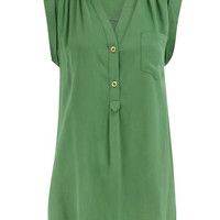 Green longline shirt - Fashion Tops - Clothing - Dorothy Perkins