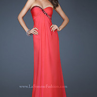 Long Chiffon Strapless Sweetheart Gown