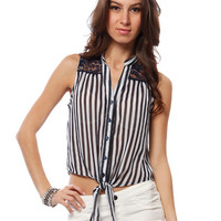 Papaya Clothing Online :: LACY YOKE VERTICAL STRIPE BLOUSE