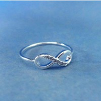 Infinity Ring, Cubic Zirconia, Gold or Silver, RIng