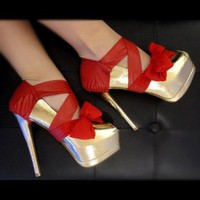 Red Leather and Chiffon Heel Condom