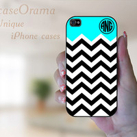 Monogrammed iPhone 5 case - Black and White Chevron and turquoise with Monogram Iphone 5 hard case