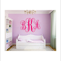 Large Vine Monogram Vinyl Wall Decal Housewares Girl Nursery Bedroom Vinyl Decor Initial Decor 22x35
