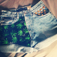 Cannabis Maryjane Legalize Gold Studded High Waist Vintage Shorts