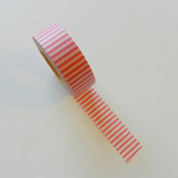 Pink and White Striped Washi Tape, 32 feet