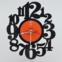 Handmade Vinyl Record Wall Clock (artist is Boston)