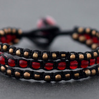 Red Jade Rose Gold Beaded Bracelet by XtraVirgin on Etsy