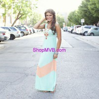 MVB Mint and Apricot Color Block Chevron Maxi Dress