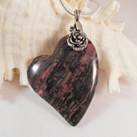 Valentines Day, Crazy Lace Agate Heart Pendant Jewelry