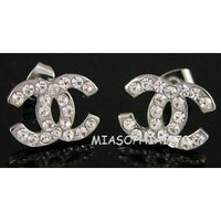 Amazon.com: Silver CC Studs Austrian Crystal Stud Earrings**FAST SHIPPING**: Everything Else