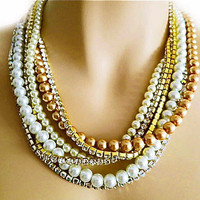 Bridal Pearl Necklace with Rhinestone, Wedding Pearl Necklace Chunky, Ivory &amp; White and Champagne Pearl Necklace, Rhinestone Necklace,