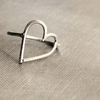 Sterling Silver Tilted Heart Ring  Made to Order by SDMarieJewelry