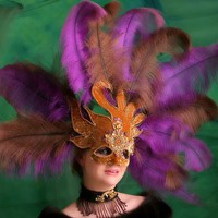 Mardi Gras Mask with Purple and Burnt Orange by costumesalon