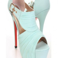 Mint Pleated Fabric Peep Toe Cut Out Platform Heels @ Amiclubwear Heel Shoes online store sales:Stiletto Heel Shoes,High Heel Pumps,Womens High Heel Shoes,Prom Shoes,Summer Shoes,Spring Shoes,Spool Heel,Womens Dress Shoes,Prom Heels,Prom Pumps,High Heel S
