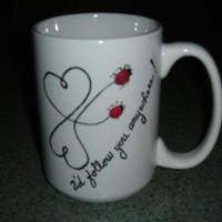 Handpainted ceramic Mug  White 14 ounces