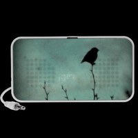 On Top of the World - Bird Silhouettes in Blue iPod Speaker from Zazzle.com