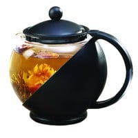 Primula Flowering Tea Set with Half-Moon 40-Ounce Pot, Black/Glass