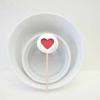Heart Cupcake Toppers, Silver and Red, by Kiwi Tini Creations
