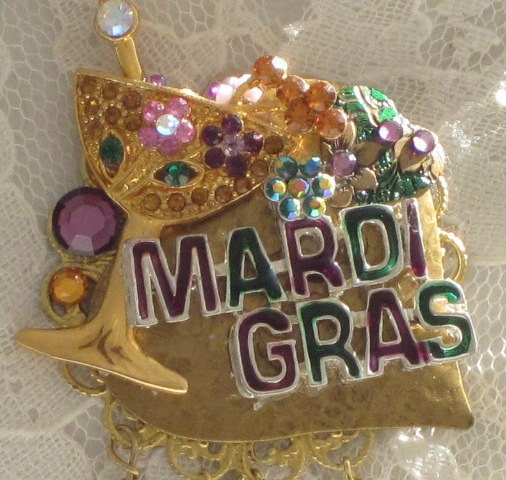 MARDI GRAS  JEWELRY   Cocktail Fun  Brooch by thejoanandlucyshow