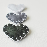 "Valentines Day Heart Magnets in ""Charcoal"" - Set of 3 Wool Felt Magnets - Love Grey Gradient - Wedding Favors"