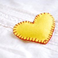 Valentine brooch , Yellow heart   -  valentine heart brooch,hand stitched Felt heart pin