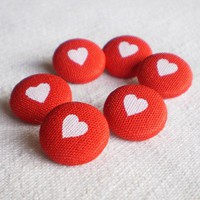 Fabric Buttons - Everybody Loves Somebody - 6 Small Red and White Hearts Fabric Covered Buttons