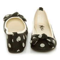 Mixx Penny 10 Black Polka Dot Bow Ballet Flats - &amp;#36;24.00
