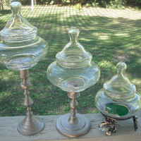 3 upcycled Apothecary pedestal Jars  Wedding by MamaLisasCottage