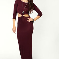 Daisy Knot Front 3/4 Sleeve Maxi Dress