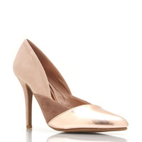 pointy-toe-contrast-pumps ROSEGOLD SILVER - GoJane.com