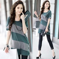 Casual Womens Korean T-shirt Tee Tops Long Sleeve Stripes Buttons