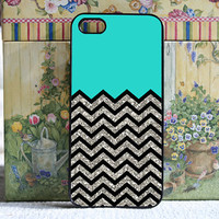 turquoise with black and silver Chevron  iPhone 5 by DanazDesigns