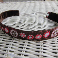 Flower brown, white & red non slip headband, girls headband, women's headband