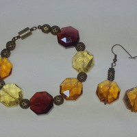 Amber Glass Faceted Beads and Antique Bronze Bracelet & Earrings