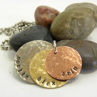 Copper- Silver - Brass metal stamped necklace with your choice of wording- hammered texture