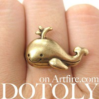 Adjustable Cute Whale Sea Animal Ring in Bronze | dotoly ArtFire Gallery