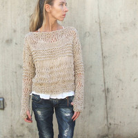 Fawn Alpaca mix Grunge sweater by ileaiye on Etsy