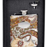 "Visol ""Floral"" Paisley Pattern 6oz Flask Gift Set"