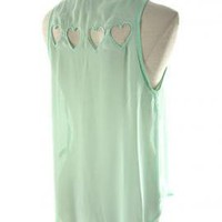 Love Triangle Sleeveless Buttoned Blouse with Heart Diecut in Mint | Sincerely Sweet Boutique