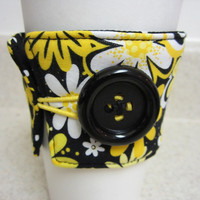 Black White & Yellow Flower Coffee Cozy by LibbyandLee on Etsy